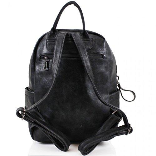 LeahWard Mädchen Qualität Faux Leder Rucksack Taschen Frauen Nizza Rucksack Tasche Handtaschen für Schulferien Rucksack für Jungen CW9050 (M9050 Grün Rucksacktasche) Schwarz Zip Rucksack