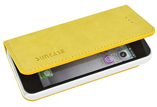 iPhone SE / iPhone 5S / iPhone 5 - Suncase Book-Style (Slim-Fit) Ledertasche Leder Tasche Schutzhülle Case Hülle (mit Standfunktion) in antik senf gelb Antik-Senf-Gelb