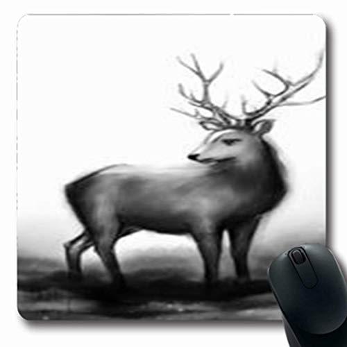 Gsgdae Mauspad Frozen Winter Schnee Wald Schwarz Weiß Einfarbig Urlaub Wildnis Abstrakt Rentier Geweih Muster länglich 20,32 x 24,1 cm rechteckig Gaming Mauspad Anti-Rutsch Mauspad -