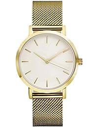 Longra ☀☀☀Reloj de pulsera de acero de cuarzo, relojes de moda