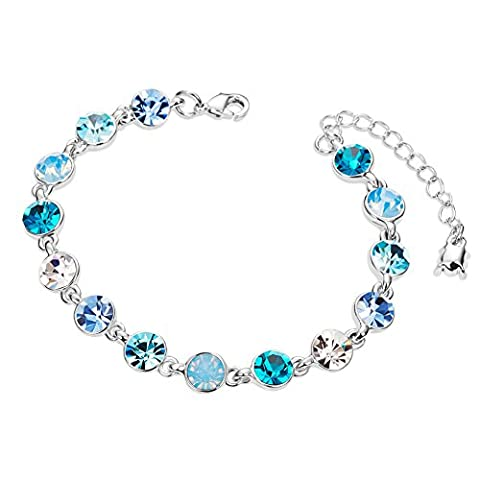 Sweetiee Platinum Plated Alloy Bracelet with Round Aquamarine Austrian Crystals 160mm Adjustable for Girls
