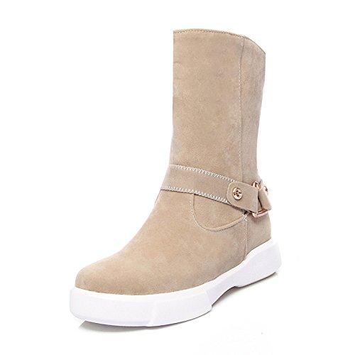 HSXZ Scarpe da donna in pelle Nubuck vello Fall Winter Snow Boots Fashion Stivali Stivali Bootie Round Flat Toe stivaletti/stivaletti stivali Mid-Calf Almond