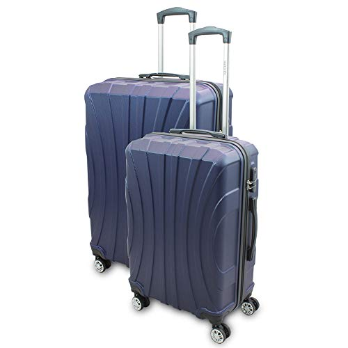 BERWIN® Kofferset L + XL 2-teilig Reisekoffer Trolley Hartschalenkoffer ABS Teleskopgriff Modell Strike (Dunkelblau)