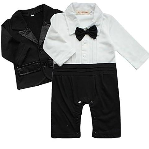 iiniim 2pcs Baby Boys Outfits Clothes Wedding Gentleman Jumpsuit Bow Tie Romper + Suit Coat Costumes Sets Black White 18-24 Months