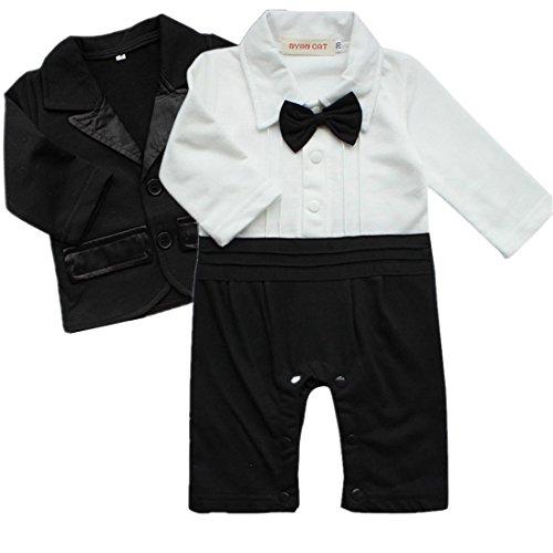 18ecaa3729b iiniim 2pcs Baby Boys Outfits Clothes Wedding Gentleman Jumpsuit Bow Tie  Romper + Suit Coat Costumes