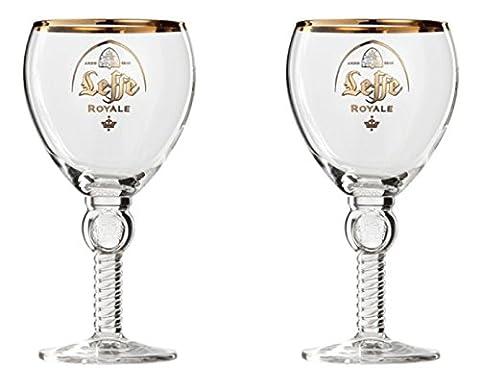 2 verres Leffe royale bière d'abbaye belge, verre calice, verre à pied