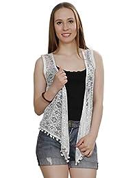 SWEEKASH Women's Solid Net Sleeveless Bust Length Shrug