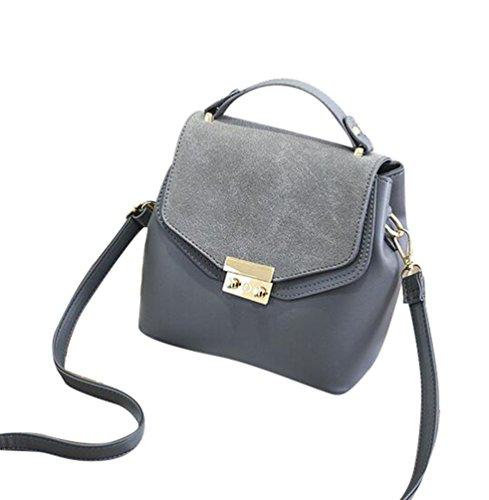Baymate Damen PU Leder Handtasche Modische Schultertasche mit Schulterriemen Dunkel Grau