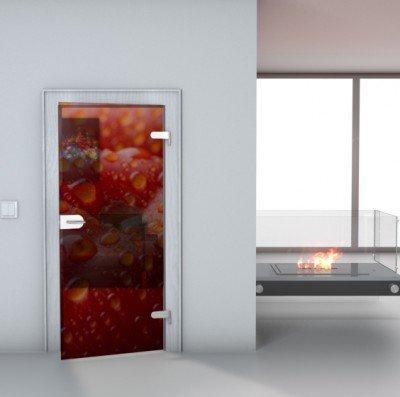 "Glastürfolie Transparent selbstklebend ""Apple"" Türfolie Glastür Folie Poster Türtapete Tapete Fototapete Türposter 90cm x 210cm"