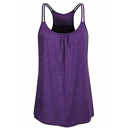 TUDUZ Damen Große Größe Camisole Rundhals Falten T-Shirt Weste Bluse Ärmellos Stretch Tunika Top(L,X-Lila) - Lila Blume Shirt