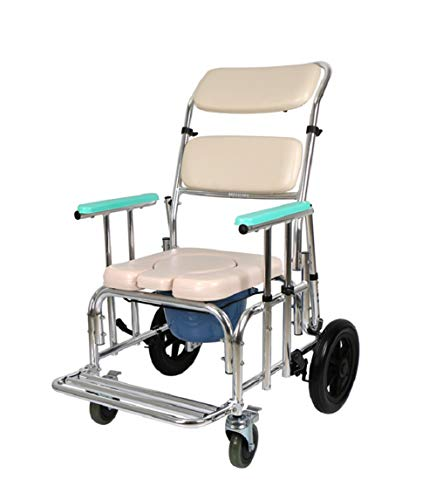 ZYT Toilettenstuhl PU-Sitz Mit Räder,Medizinisch Toilettenrollstuhl Rollen Dusche Mit Rollen (4 Räder Bremsen),Gepolstert Einstellbar Rückenlehne Und Drop Arm -