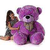 Emutz Very Soft 3 Feet Lovable/Huggable Teddy Bear with Neck Bow for Girlfriend Gift/Boy/Girl , (Purple, X-Large)
