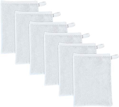 Erwin Müller Microfaser Abschminkhandschuhe, Make-up Entferner, Gesichtsreinigung 6er-Pack weiß 15x21 cm- umweltfreundlich, wiederverwendbar, waschbar (weitere Farben)