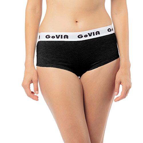 6er Pack GoVIA Damen Panties Boxershort Hipsters Baumwolle mit breitem Gummizug 3921 Schwarz