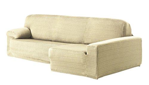 Eysa Aquiles Élastique Chaise Longue Droite, Vue frontale, Polyester Coton, Écru, 43x37x14 cm