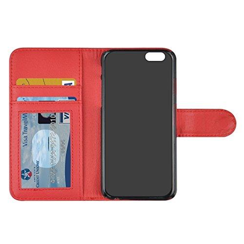 Phone case & Hülle Für IPhone 6 / 6S, Snakeskin Textur Horizontale Flip PU Ledertasche mit Card Slot & Halter ( Color : Grey ) Red