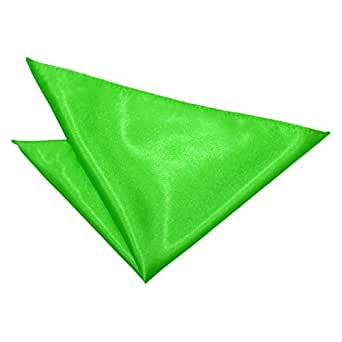 DQT Plain Satin Formal Casual Wedding Handkerchief Pocket Square Hanky - Apple Green