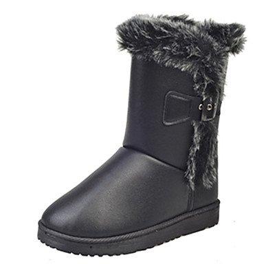 RTRY Scarpe Donna Pu Inverno Comfort Combattere Stivali Stivali Tacco Piatto Rotondo Split Toe Giunto Per Casual Kaki Nero US8.5 / EU39 / UK6.5 / CN40