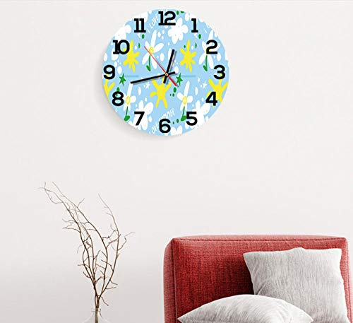41YwPg3zPrL - LZCHA Radio Reloj Dibujos Animados Estrellas Y Flores Arte Acrílico Reloj De Pared Sala De Niños Sala De Estar Decoración Escolar