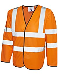 Uneek clothing UC802 High Vis Orange Long Sleeve Vest