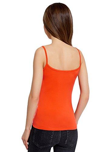 oodji Ultra Damen Trägertop Basic Orange (4D00N)