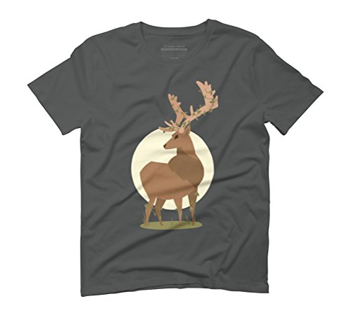 Deer Men's Graphic T-Shirt - Design By Humans Anthracite