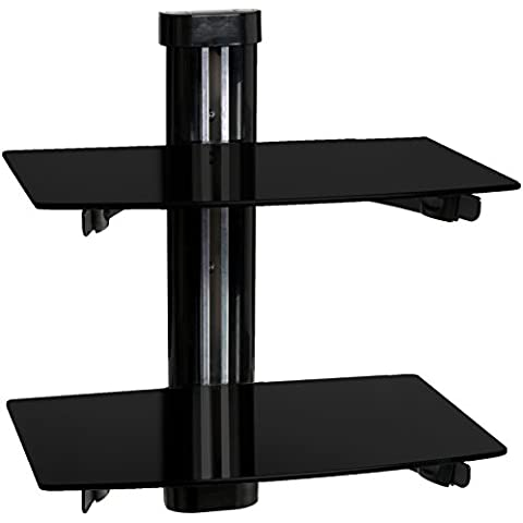 Mool - Soporte flotante para reproductor de DVD, televisores de plasma/LED/LCD (2 estantes, cristal templado, con sistema de gestión de cables), color negro