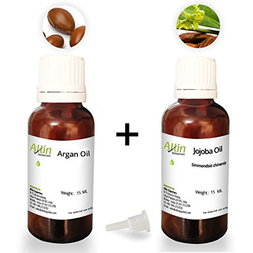 Allin Exporters Moroccan Argan Oil and Jojoba Oil - 15ml Each - 100% Pure and Natural Combo Carrier Oils Combo Pack