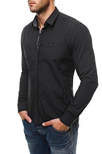 OZONEE Camicia Uomo Camicia da ufficio Che fa risaltare la figura Slim-Fit Maniche lunghe RAW LUCCI 528 Nero