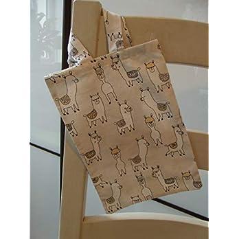 Einkaufsbeutel klein Beutel Einkaufstasche Mini Stoffbeutel Kinder beige Lama Tiere