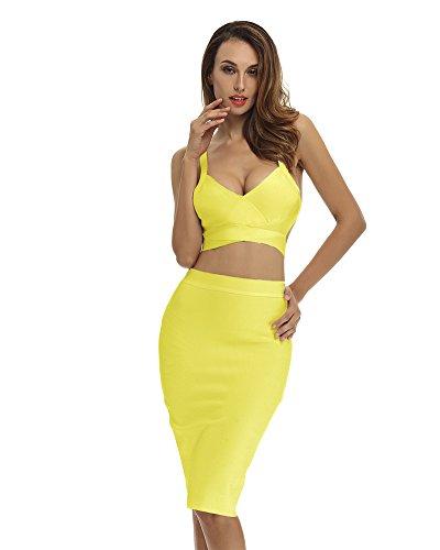 Whoinshop da donna, set di 2pz sexy senza maniche v-check Bodycon stretch party cocktail BANDAGE Dress Yellow