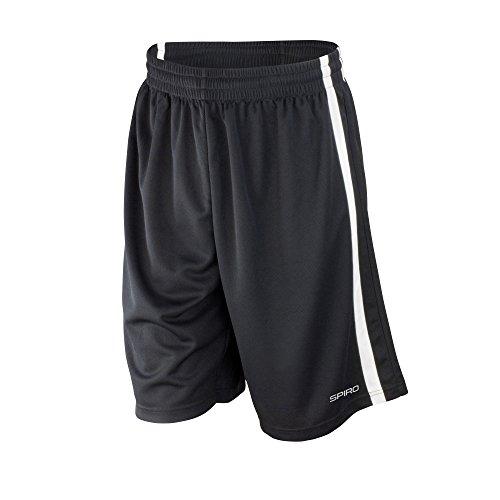 Spiro Herren Basketball-Shorts, schnelltrocknend (Large) (Schwarz/Weiß)