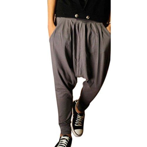 Minetom Homme Taille Elastique Slant Poches Pantalon Sarouel bien conçu Pantalon Herem élastique Pantalon Jogging Gris