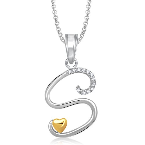 MEENAZ 'S' LETTER PENDANT LOCKET GOLD PLATED ALPHABET HEART FOR MEN AND WOMEN WITH CHAIN PS340