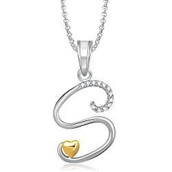 Meenaz 'S' Letter Gold Plated Pendant Locket With Chain For Men And Women Ps340