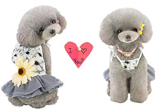 T.boys's Haustier Hund Kleider Kleid Pet Dog Dress Dog Kleidung Frühling und Sommer Sun Blume Spitze Atmungsaktiv Sling Rock Kleid Hundekostüme Pet Kleidung (M, Black) (Hunde Für Sun-kleid)