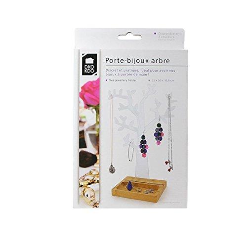 porte-bjoux Árbol con soporte madera, transparente