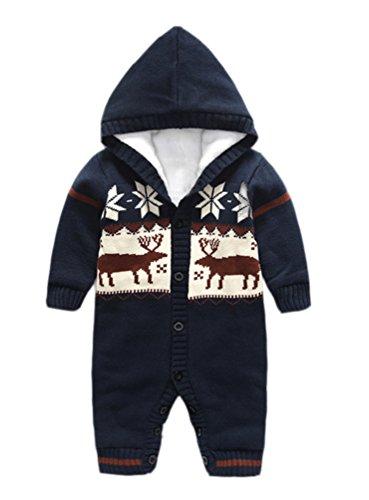 Engerla Unisex Neonato Pagliaccetto Long Sleeve Natale Maglioni Cappotto Maglione Tuta blu Blue 12 - 18 mesi