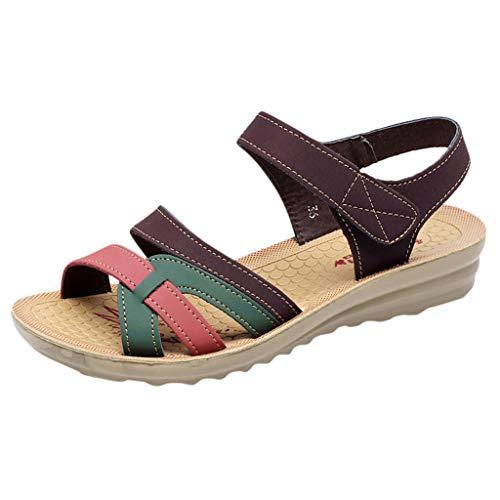 Sandalen Damen Sommer Keil Weich Sohle Faule Schuhe Schwangeren Frauen Flach Beschuht Farbabstimmung Klettverschluss Knöchelriemchen Strandschuhe Freizeitschuhe (38 EU, Kaffee) -