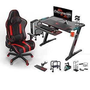 41YwVx1UkzL. SS300  - GXC Gaming Desk, Gaming-Tisch E-Sport Spieltisch Und Stuhl Set, PC-Gaming-Schreibtische Mit Mauspad LED-Leuchten Getränkehalter Kopfhörerhaken Computer-Mainframe-Rahmen E-Sportanzug