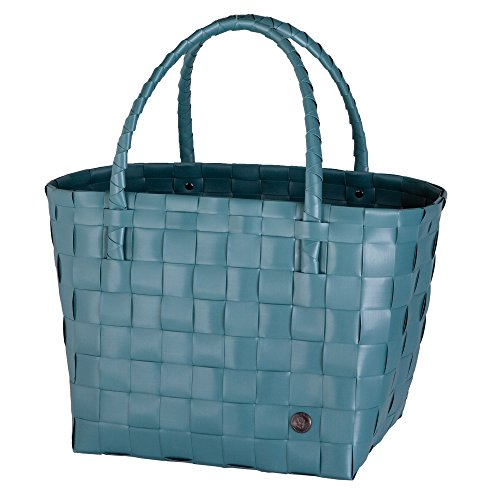 Unek Goods Handed By Paris Woven Reusable Shopping Tote Bag, Teal Blue