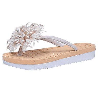 zhENfu Donna sandali di gomma Comfort estate passeggiate all'aperto Comfort tacco piatto arrossendo Rosa Rubino Nero Beige sotto 1in Beige