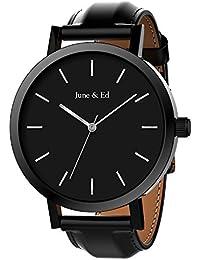 June & Ed Cuarzo Acero Inoxidable Correa Reloj de pulsera para Hombre con la ventana del dial de cristal de zafiro W-0010