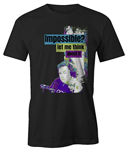 RiotBunny Impossible Let Me Think About It Cool Elon Musk Smoking Weed Meme Colorful Artwork T-Shirt Herren Schwarz Large