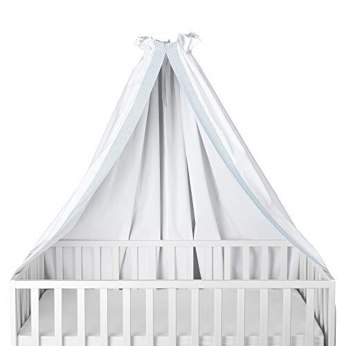 Sugarapple Himmel mit Banderole für Babybetten, Kinderbetten quer verwendbar, weiß mit hellblauen Streifen, 100{65705224a2512f95fc63ec6f57d030e3394d6cdf8775a0ae01f21839c7258f1f} Öko-Tex Baumwolle, 280x170 cm