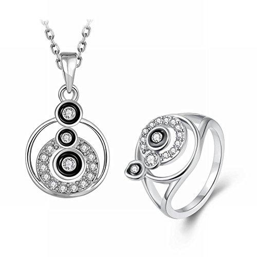 Thumby Crystal Point Drink Fan Dieman Rose Gold Großzügige Damen Halskette Ringe 2 Sätze, Platin (Crystal Point Halsketten)