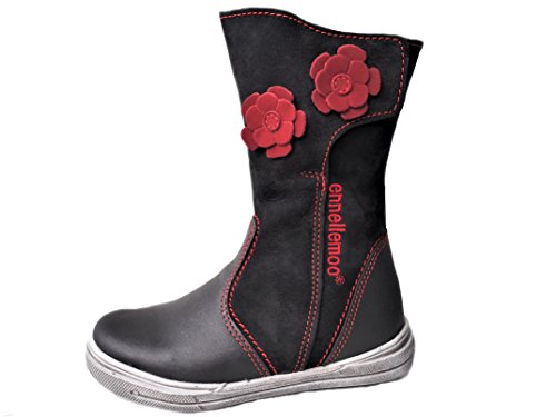 ennellemoo®-Mädchen-Kinder-Stiefel aus echt Leder-Vollleder mit warmen Kunstfell-Reiß + Klettverschluss-Herbst/Winter Schuhe- Ultralight and Soft Leather Premium Shoes! (33, Schwarz)