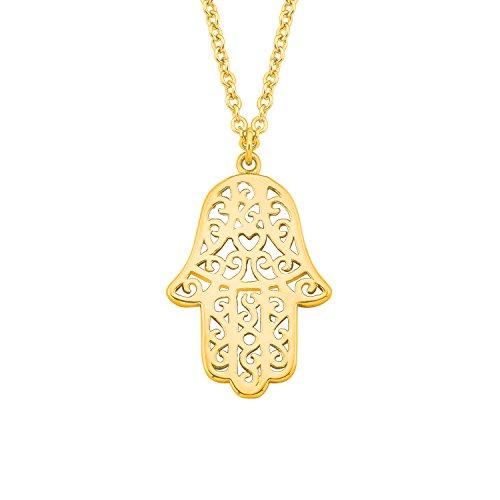 s.Oliver Damen-Kette 45 cm So Pure mit Hamsa Hand der Fatima-Anhänger 925 Sterling Silber gelbvergoldet
