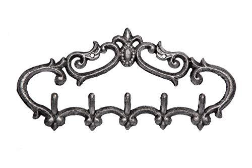 Comfify Gusseisener Wandhaken - Vintage Design mit 5 Haken - Schlüssel, Handtücher, etc - Wandmontage, Metall, Hochbelastbar, Rustikal, Vintage, Dekorative Geschenkidee - 12.9X 6.1