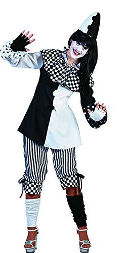 Faschingsfete - Schwarz Weiß Karo Harlekin Clownskostüm mit Kragen für Damen, M, Mehrfarbig (Schwarzen Kasper Rock Anzug)